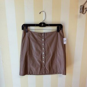 Free People Button Front Vegan Leather Skirt